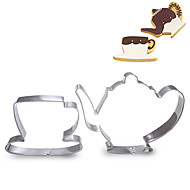 2 Pieces Set of Teacup and Teapot Shape Cookie Cutters  Fruit Cut Molds Stainless Steel