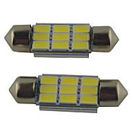 2pcs 39mm / 36mm / 41mm 車載 電球 2W SMD 5630 215lm 9 マップライト