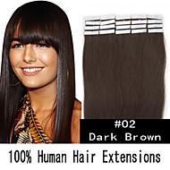 18 inch 40g / set huid tape haar Maleisische human hair extensions 19 kleuren voor vrouwen schoonheid