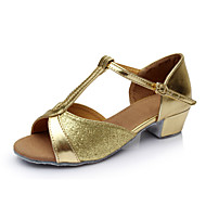 """cheap Latin Shoes-Women's Children's Latin Sparkling Glitter Leatherette Satin Sandal Indoor Buckle Flat Heel Red Silver Blue Gold 1"""" - 1 3/4"""" Customizable"""