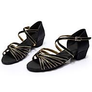 baratos Sapatilhas de Dança-Mulheres Sapatos de Dança Latina / Dança de Salão Couro / Seda Sandália Presilha / Cadarço de Borracha Salto Robusto Personalizável