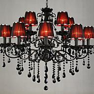 tanie -LWD Świeca Żyrandol Światło rozproszone Malowane wykończenia Metal Tkanina Kryształ 110-120V / 220-240V Nie zawiera żarówek / E12 / E14