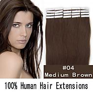 4 set 18 inch remy 40g / set huid tape haar Maleisische human hair extensions 19 kleuren voor vrouwen schoonheid