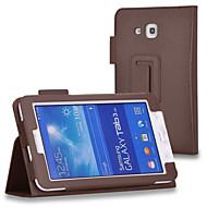 のために Samsung Galaxy ケース スタンド付き / フリップ ケース フルボディー ケース ソリッドカラー PUレザー Samsung Tab 4 7.0 / Tab 3 7.0 / Tab 3 Lite
