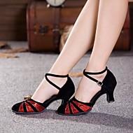 billige Moderne sko-Dame Moderne Paljett Semsket lær Høye hæler utendørs Nybegynner Trening Paljett Spenne Kubansk hæl Svart og Rød Svart og Sølv Sort og Gull