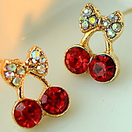 dámské roztomilé červené třešně jemné diamantové náušnice elegantní styl