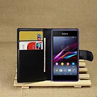 billiga Mobil cases & Skärmskydd-fodral Till Sony Xperia Z2 / Sony Xperia M2 / Övrigt Sony-fodral Plånbok / Korthållare / med stativ Fodral Enfärgad Hårt PU läder för Sony Xperia Z2 / Sony Xperia M2 / Other