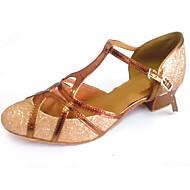 billige Moderne sko-Herre / Dame Moderne sko Glimtende Glitter / Kunstlær Sandaler / Høye hæler Kustomisert hæl Kan spesialtilpasses Dansesko Bronse / Rosa /