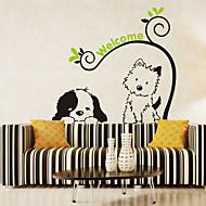 duvar çıkartmaları duvar çıkartmaları tarzı karikatür köpek kedi pvc duvar çıkartmaları
