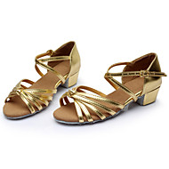 Women's Dance Shoes Latin Silk/Leather Chunky Heel Black/Brown/Silver/Gold/Leopard/ Customizable