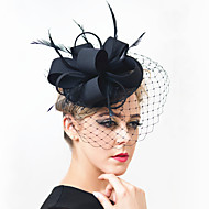 cheap Headpieces-Gemstone & Crystal Feather Satin Net Fascinators Headpiece with Crystal 1 Wedding Special Occasion Party / Evening Outdoor Headpiece