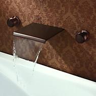 アンティーク 壁式 滝状吐水タイプ 真鍮バルブ 三つ 二つのハンドル三穴 オイルブロンズ , バスルームのシンクの蛇口