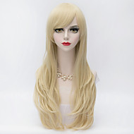 Synthetic Wig Curly Blonde Layered Haircut / With Bangs Synthetic Hair Side Part Blonde Wig Women's Very Long Capless