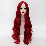 High Quality Long Loose Wavy U Part Hair Wine Red Synthetic Vogue Party Wig