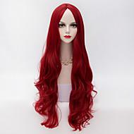 korkealaatuinen pitkä löysä aaltoilevat u osa hiukset viininpunainen synteettinen muodissa puolue peruukki