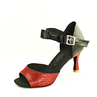 baratos Sapatilhas de Dança-Mulheres Sapatos de Dança Latina / Sapatos de Salsa Courino Sandália Presilha Salto Personalizado Personalizável Sapatos de Dança Prateado / Azul / Dourado