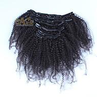 păr peruvian Afro kinky clip buclat în extensii de par uman 7pcs / set cap set complet de culoare negru naturale