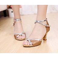baratos Sapatilhas de Dança-Mulheres Sapatos de Dança Latina / Sapatos de Salsa Cetim Sandália Presilha Salto Personalizado Personalizável Sapatos de Dança Marrom / Azul / Fúcsia / Couro