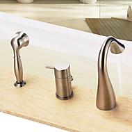 Смеситель для ванны - Современный Матовый никель Ванна и душ Керамический клапан Bath Shower Mixer Taps / Одной ручкой три отверстия