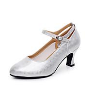 billige Moderne sko-Dame Moderne sko / Ballett Kunstlær Høye hæler Spenne Kustomisert hæl Kan spesialtilpasses Dansesko Elfenben / Sølv / Innendørs / Trening / Profesjonell