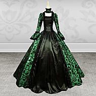 Middelalderkostumer Victoriansk Kostume Dame Kjoler Festkostume Maskerade Grøn Vintage Cosplay Blonde Langærmet Digter Lang Længde