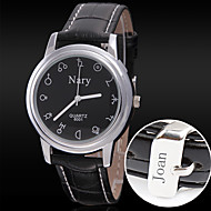 cheap Personalized Watches-Personalized Gift Men's Casual Leather Strap Engraved Watch