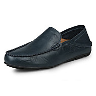 cheap Men's Leather Shoes-Men's Shoes Leather Summer / Fall Moccasin Loafers & Slip-Ons Black / Brown / Blue / Leather Shoes / Comfort Loafers