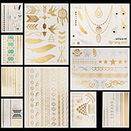billiga Tatuering och body art-10 pcs Metallisk Tatueringsklistermärken tillfälliga tatueringar Blomserier / Smyckeserier Vattentät / Ogiftig / Halloween Body art händer / arm / Mönster / Ländrygg