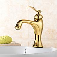 halpa Hanat-Perinteinen Integroitu Vesiputous Keraaminen venttiili Yksi reikä Yksi kahva yksi reikä Ti-PVD, Kylpyhuone Sink hana
