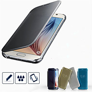 PU Leather + PC Clear View Mirror Screen Flip Smart Case For Samsung Galaxy S6/S6 Edge/S6 Edge Plus
