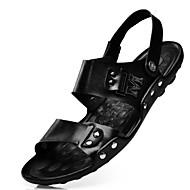 رخيصةأون أحذية الرجال-للرجال جلد ربيع / صيف مريح صنادل أحذية الماء أسود