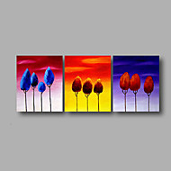 cheap Oil Paintings-Oil Painting Hand Painted - Floral / Botanical Modern Canvas