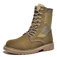 baratos Sapatos de Tamanho Pequeno-Homens Fashion Boots Lona / Pele Outono Conforto / Botas de Moto Botas Preto / Castanho Claro