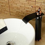 halpa -Antiikki Integroitu Vesiputous Keraaminen venttiili Yksi reikä Yksi kahva yksi reikä Öljytty pronssi , Kylpyhuone Sink hana