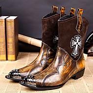 billige -60%-Herre sko Lær Vinter Høst Komfort Støvler 25,4 cm-30,48 cm Ankelstøvler Støvletter Metalltå til utendørs Fest/aften Gul Rød