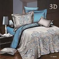 preiswerte Streu-Bettbezug-Sets Blumen 4 Stück Polyester / Baumwolle Reaktivdruck Polyester / Baumwolle 4-teilig (1 Bettbezug, 1 Bettlaken, 2 Kissenbezüge)