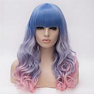 פאות סינתטיות בגדי ריקוד נשים מתולתל כחול תספורת אסימטרית שיער סינטטי שיער טבעי כחול / ורוד פאה ארוך ללא מכסה קשת