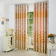 Rod Pocket Grommet Top Tab Top Double Pleat Pencil Pleat Two Panels Curtain Country , Hollow Out Poly / Cotton Blend Material Curtains