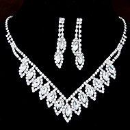 Jewelry Set Rhinestone, Imitation Diamond Ladies, Party, Bridal Include White For Wedding Masquerade Engagement Party Prom Promise / Earrings / Necklace