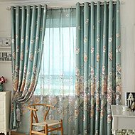 Grommet Top Double Pleated Two Panels Curtain Country Modern Neoclassical Bedroom Polyester Material Curtains Drapes Home Decoration For