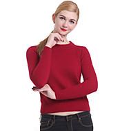 Moda feminina casual / trabalho pulôver de manga comprida, malha de malha médio