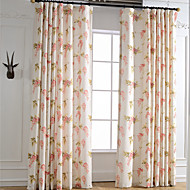 cheap Curtains & Drapes-Curtains Drapes Bedroom Leaf Linen / Polyester Blend Print & Jacquard
