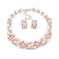 Womens New Hot European Style Fashion Imitation Pearl Bridal Choker Necklace Earrings Set