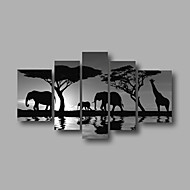 Ready to Hang Stretched Framed Hand-Painted Oil Painting Canvas Wall Art Sunrise African Animals Modern Five Panels