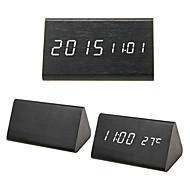 billiga Väckarklockor-vitt ljus triangel dual-screen trä ledde klocka w / väckarklocka, temperatur