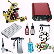 billige Tatoveringssett for nybegynnere-nybegynner tattoo kit med maskin / mini strømforsyning / 10 nåler / 2-blekk / nål / tips / grep pro