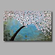 billiga Blom-/växtmålningar-HANDMÅLAD Abstrakt Blommig/Botanisk Horisontell,Moderna En panel Hang målad oljemålning For Hem-dekoration