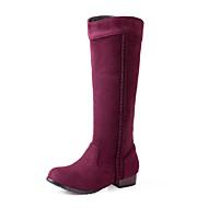 baratos Sapatos Femininos-Mulheres Sapatos Flanelado Outono / Inverno Conforto / Botas da Moda Botas Caminhada Salto Robusto Ponta Redonda Tira Trançada Marron /