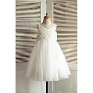 a-line knælængde blomst pige kjole - blonder tulle ærmerøs v-hals med bue (r) af thstylee