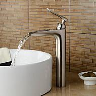 Nykyaikainen Art Deco/Retro Moderni Integroitu Vesiputous Keraaminen venttiili Yksi reikä Yksi kahva yksi reikä Harjattu nikkeli ,